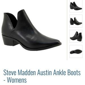 STEVE MADDEN Black Leather Ankle Boots US 6.5- NEW